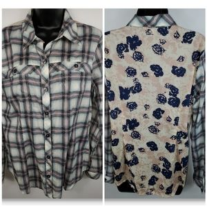 CAbi Button Down Long Sleeve Top Size M